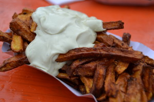 Pumpkin fries with an amazing garlicy quark concoction slathered on top!