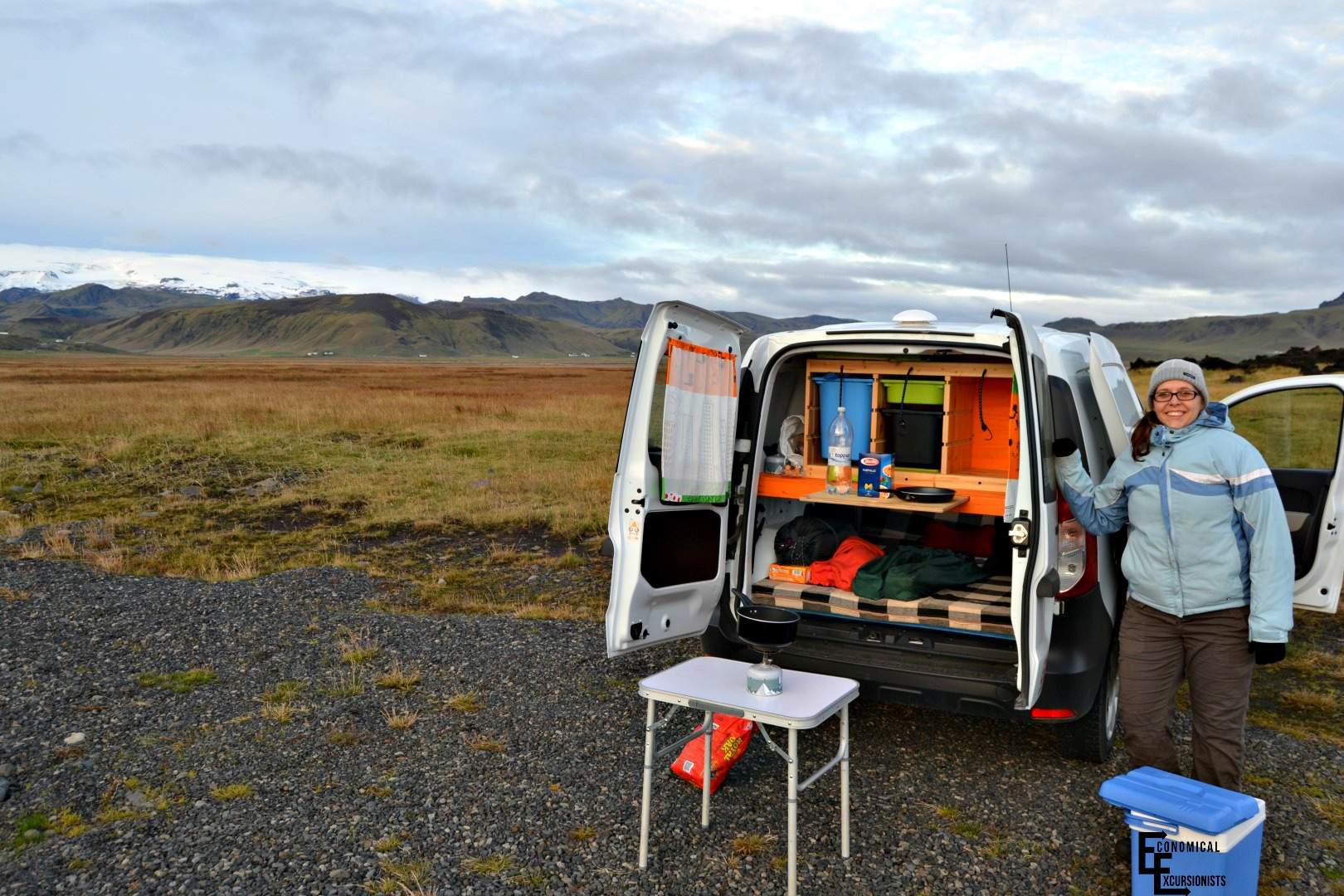 campervan in iceland cooking - the economical excursionists