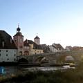 Regensburg Stone Bridge and Donau River