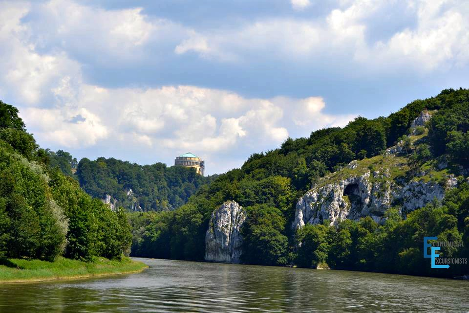 On the Donau riverboat to the Weltenburg Kloster looking back at Kelheim