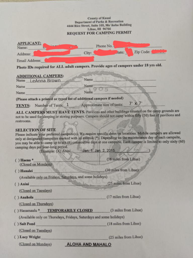 getting a kauai camping permit