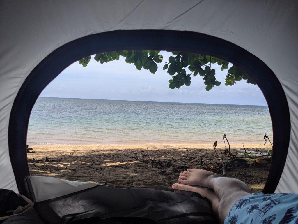 kauai camp on the beach